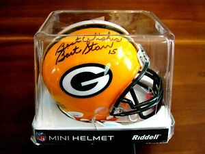 BART STARR # 15 GREEN BAY PACKERS HOF SIGNED AUTO RIDDELL MINI HELMET JSA LOA