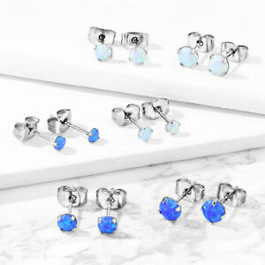 PAIR Prong Set Opal Earrings 316L Surgical Steel - choose from 2 colors, 3 sizes