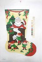 """Needlepoint Handpainted LEE Christmas Stocking Santas List 23"""""""
