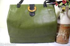 Vintage MORABITO France Green Leather Tote Shopper's Tote Shoulder Bag