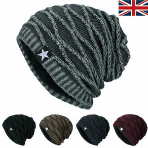 Unisex Knitted Slouch Beanie Hat Winter Warm Thermal Fleece Lined Sports Ski Cap
