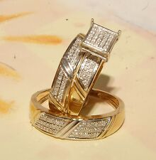 Yellow Gold and diamond Wedding Bands & Engagement ring Man's & ladies Trio Set