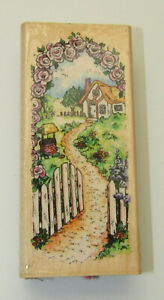 Cottage Path Rubber Stamp Rose Arbor Arch Wishing Well Picket Fence Wood Mounted