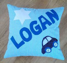 Boys Car Kids Handmade PERSONALISED Blue Cushion Christening Present Baby Gift