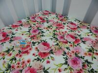 Floral Cot Sheet Fitted Pink Rose Madeline Pure Cotton Fits to 70x130cm mattress