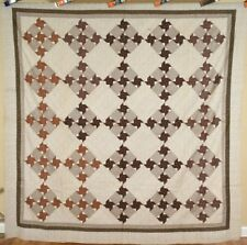 GORGEOUS Vintage 1870's Pinwheel Antique Quilt Top ~RICH EARLY BROWN FABRICS!