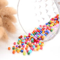 500pcs Mixed Color Tiny Solid Chunky Acrylic Plastic Ball Beads Round Beads 4mm