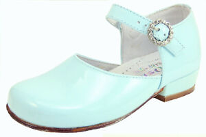 DE OSU - SPAIN - Girls Light Blue Patent Leather Dress Shoes -European 25 Size 7