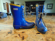 HUNTER Festival Short Womens Lace -Up Pretty Blue Rubber Rain Boots Size 7