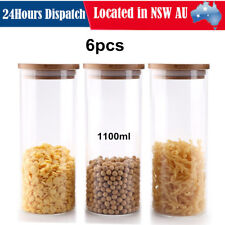 6pcs 1100ml Glass Food Storage Containers with Lids Kitchen Seal Canisters Jar