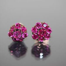 Antique 14k Yellow gold Natural Untreated Ruby Fancy stud screw back earrings