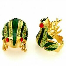 Frog Fashion Ring Red Crystal Eyes Green Rhinestones Gold Plated Size 9