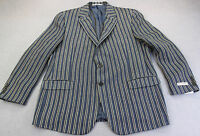 HICKEY FREEMAN LINDSEY USA BLUE STRIPE LINEN SPORTCOAT BLAZER  NWT 40 LONG $1095