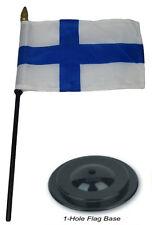 "Finland Country 4""x6"" Flag Desk Set Wood Table Stick Staff Black Base"