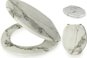 ANTI-BACTERIAL COATING MDF MARBLE EFFECT TOILET LOO SEATS NO RUST CHROME HINGES