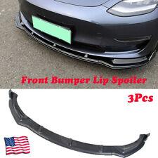 Carbon Fiber Look Style Front Bumper Lip Body Kit Spoiler For 16-19 Tesla Model3