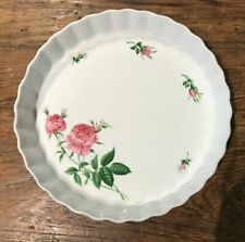 """New listing Cristineholm Rose Fluted Quiche Pie Tart Dish Pink Roses Rose Buds 9-5/8"""" Euc"""