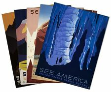 SET of 5 US TRAVEL BUREAU 1936 Vintage Print Posters Montana National Park 18X24