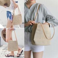 US Women Girls Rattan Straw Bag Woven Handbag Crossbody Beach Summer Bags