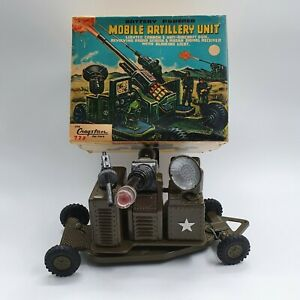 Tin Toy battery Operated  MOBILE ARTILLERY  -original box and working-