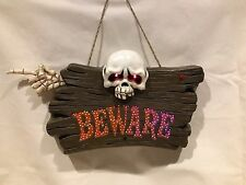 GEMMY FIBER OPTIC BEWARE Halloween SIGN. Color Chng LIGHTS and Spooky SOUNDS.