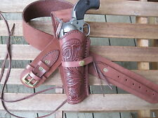 "Leather Gun Belt and Left Tooled Holster Combination - Brown - Sizes 34"" to 52"""