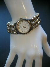 ECCLISSI 32280 STERLING SILVER TRIPLE STRAND TWO TONE BEAD STRETCH WATCH