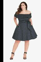 CITY CHIC SWEET NAVY BLUE AND WHITE POLKA DOT OFF THE SHOULDER DRESS SIZE S