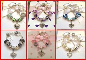 Personalised girls ladies ANY initial or Any Age charm bracelet in gift box
