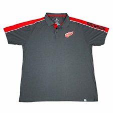 Detroit Red Wings Polo Shirt Mens 2Xl Xxl Gray Red Fanatics Nhl Hockey Adult