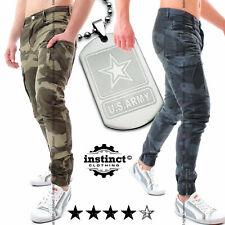 Pantaloni uomo mimetici militari cargo con tasconi tasche laterali slim fit zip