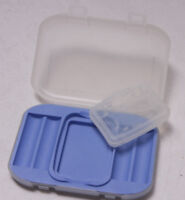 4-AA Battery Memory Card Holder Blue Plastic Card Insert CF MS xD SD SM NEW F28
