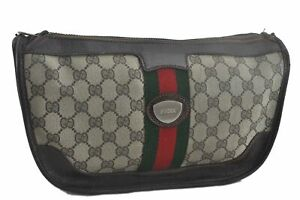 Authentic GUCCI Web Sherry Line Clutch Bag GG PVC Leather Brown Beige C5591