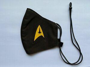 Star Trek Yellow Logo Adjustable Nano-Polyester Anti-Microbial Face Mask USA