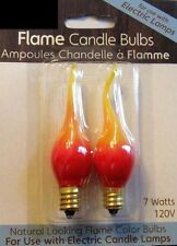 CANDLE BULB, 2 Pk Natural FLAME look 7 watt Bulb-Yellow and Red