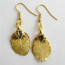 unique rose leaf gold leaf earrings - real leaf jewellery