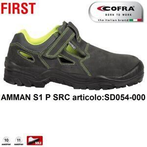 SCARPE ANTINFORTUNISTICA COFRA AMMAN S1 P SRC chiusura a strappo sandalo pelle