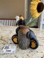 "Big Sky Carvers Bearfoots ""Missy"" Black Bear Bud Vase Collection Jeff Fleming"
