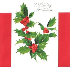 Classic Elegant Holly Berry Hallmark Holiday Party Invitations - Set of 8