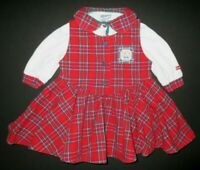Vintage Oshkosh Red Plaid Dress & Top Set Baby Girl Size 12 Months Made in USA