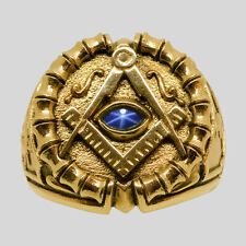 Freemason 10K Yellow Gold Sapphire Masonic Ring Size 9.5 Handmade by UNIQABLE