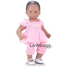 """Pink Bubble DRESS Ruffle LEGGINGS for 15"""" Twins Bitty Baby Doll by American Girl"""