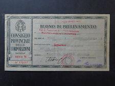 BANCONOTA BUONO DI PRELEVAMENTO CARAGLIO 26 6 1943 XXI NUMISMATICA SUBALPINA