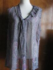 Gap women's gray multicolored  sleeveless ruffle decorated top size XLarge NWT