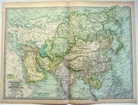 Original 1897 Map of Asia by The Century Company. Antique