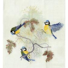 Derwentwater Designs Birds Cross Stitch Kit - Blue Tits & Seed Heads