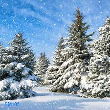 Xmas Tree Snow Winter  8x8 FT CP  PHOTO SCENIC BACKGROUND BACKDROP SM105