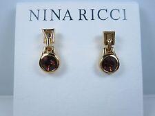 with Topaz Swarovski Crystals 0667 Nina Ricci Gold Plated Pierced Earrings