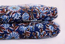 "Decorative Material 44"" Wide Indian Blue Cotton Fabric Craft Sewing By 5 Metre"