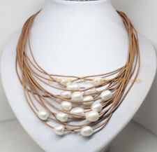 """15ROWS White Natural Pearl Gemstone Brown Leather Necklace 17.5"""" Fashion"""